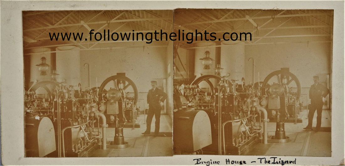 View inside the engine house at the Lizard Lighthouse July 1910.