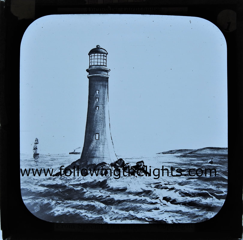 Drawing of Inchcape/Bell Rock Lighthouse Arbroath Scotland.